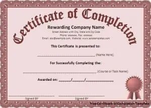 Top 5 free certificate of completion templates word templates certificate of completion template yadclub Images