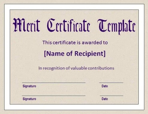 Top  Free Merit Certificate Templates  Word Templates Excel Templates