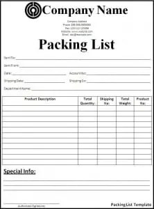 packing list template word
