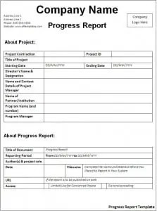 Captivating Progress Report Template