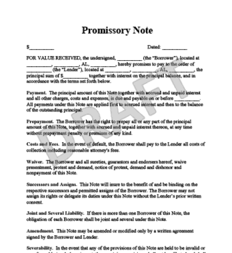 top 5 free samples of promissory note templates word templates excel templates. Black Bedroom Furniture Sets. Home Design Ideas