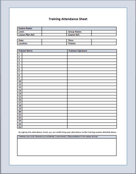 attendance list template 34610