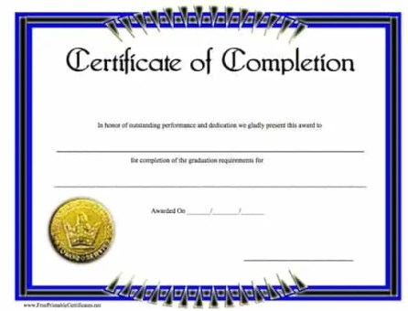 certificate of completion template 4674