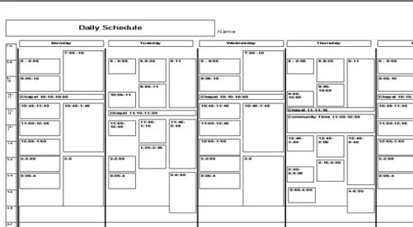 daily schedule template 474