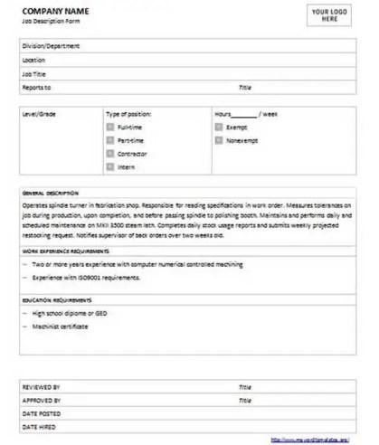 job description template 59+7