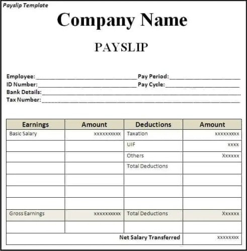 top 5 free payslip templates word templates excel templates. Black Bedroom Furniture Sets. Home Design Ideas