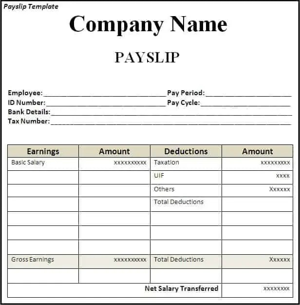 Great Payslip Template 16574 Inside Payslip Excel Template