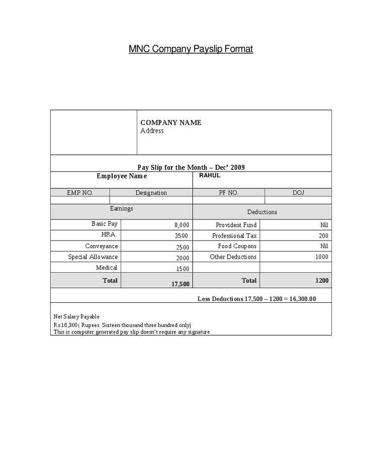 Payslip Template Word Document top 5 free payslip templates word – Payslip Templates