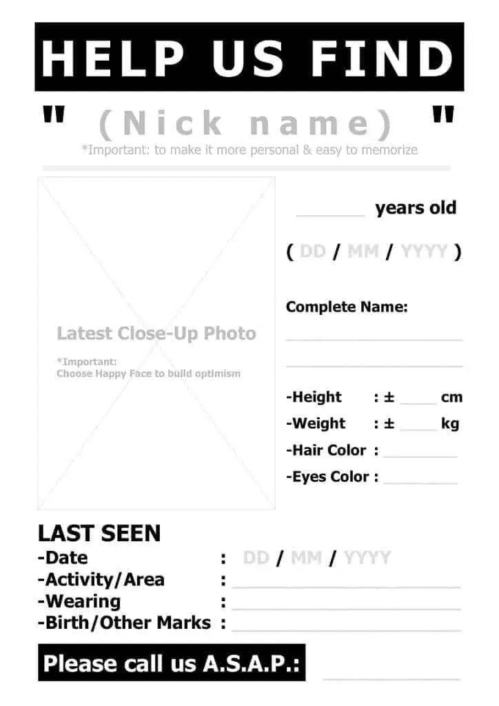 Missing Persons Template missing person poster templatereference – Template of a Person