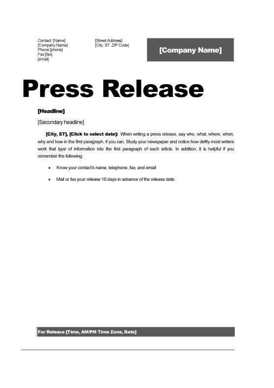 top 5 resources to get free press release templates