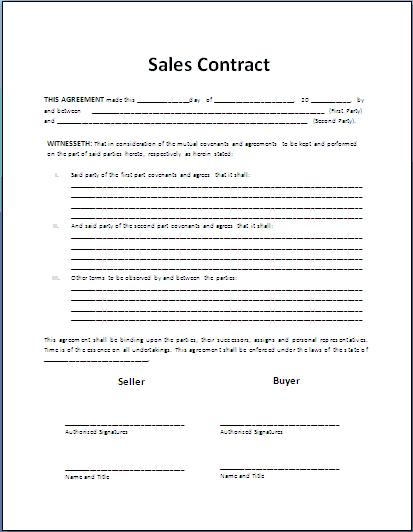 Simple Sales Contract Template contract templates microsoft word – Format for Contract