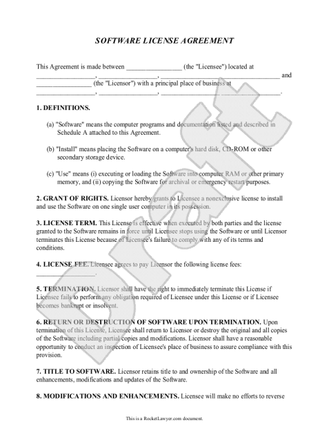 software license agreement template 1542