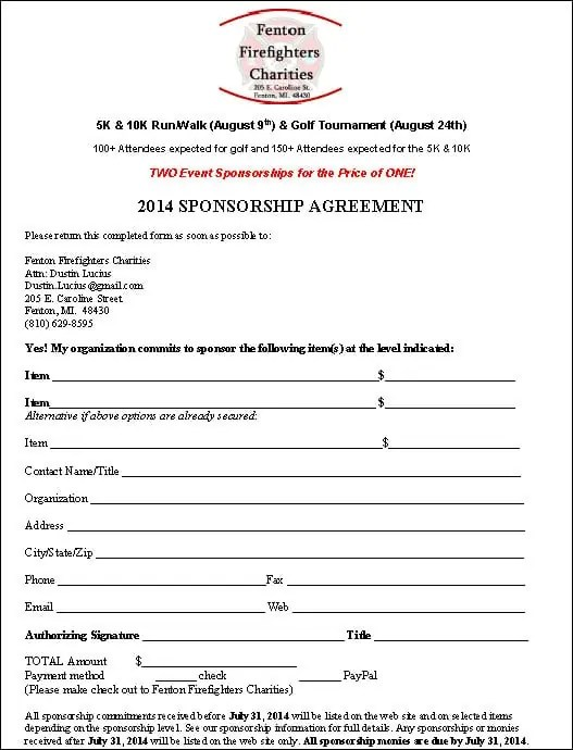 Top 5 Resuorces To Get Free Sponsorship Agreement Templates - Word ...