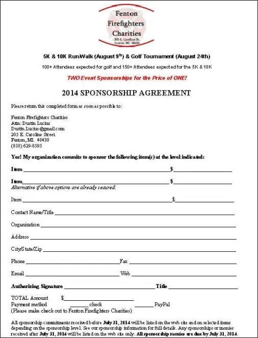 Sponsorship Contracts] Sponsorship Agreement Template Sample Form ...