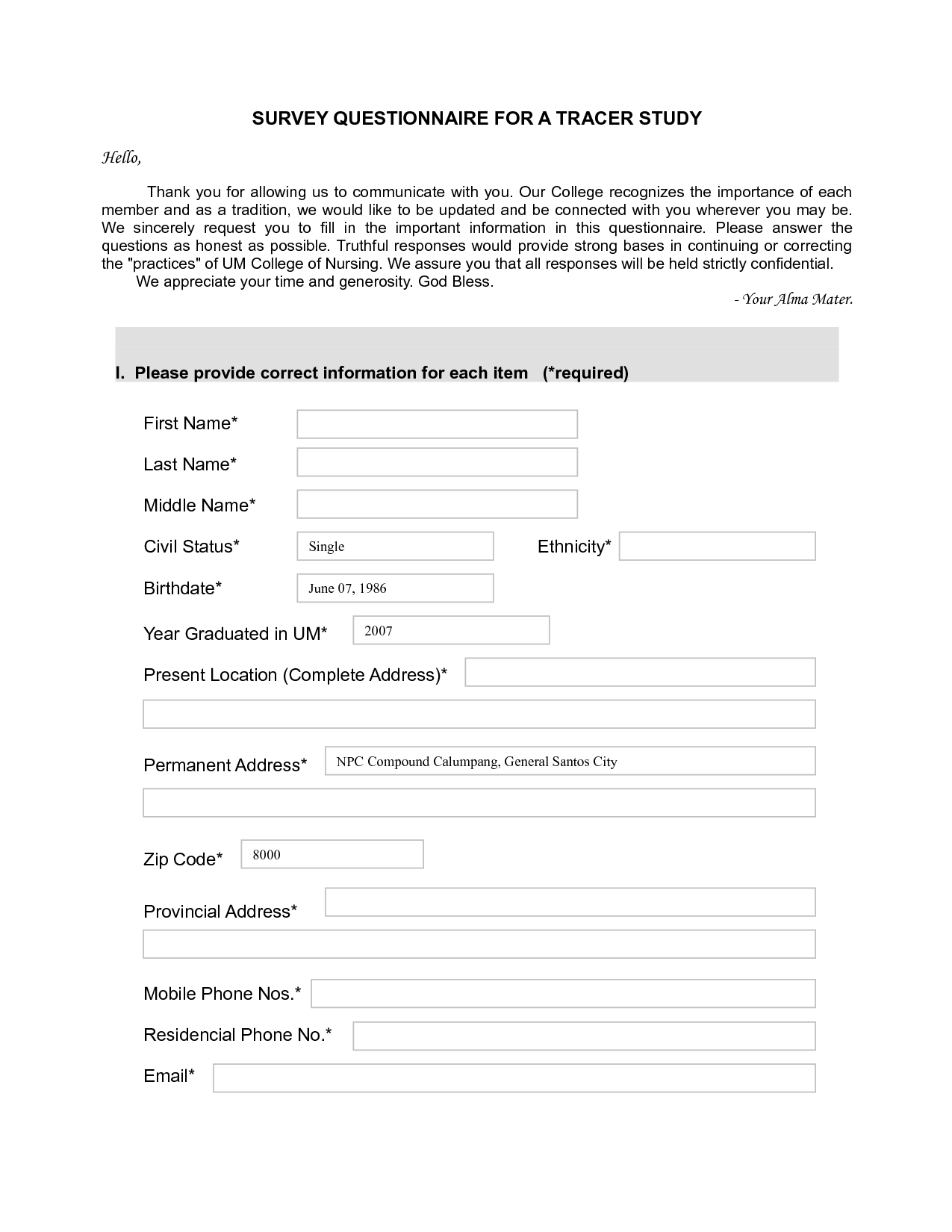 Survey Questionnaire Templates 15 student survey templates free – Student Survey Template