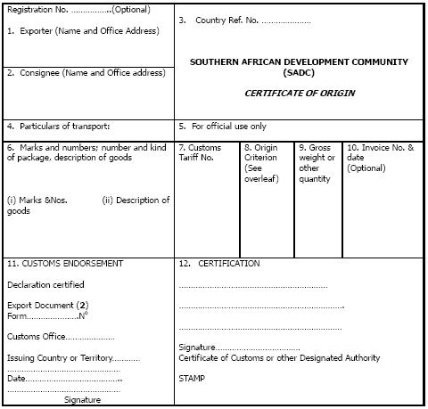 certificate of origin template 2645