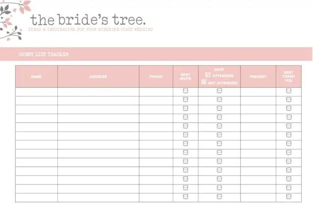 Wedding Invite List Template wedding guest list template bridal – Wedding Address List Template