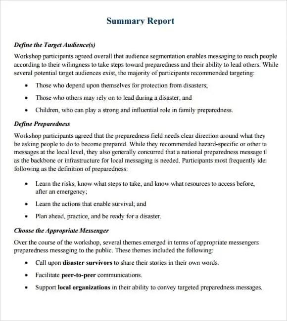 summary reports templates