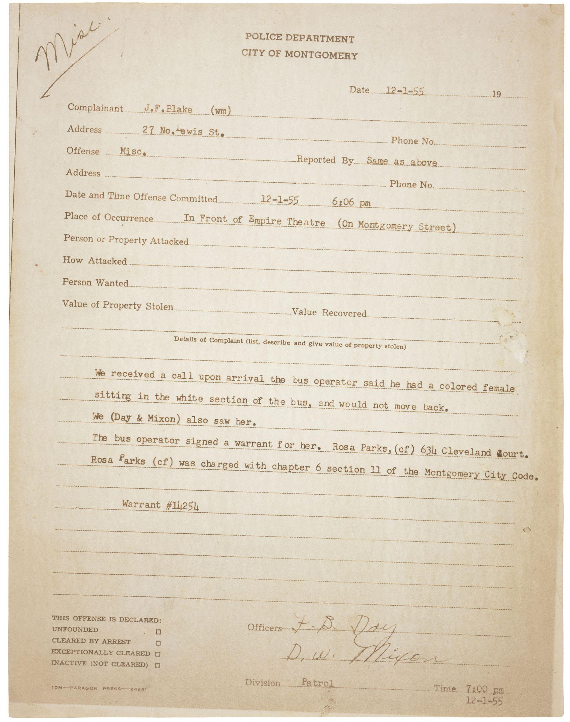 Police Report On Arrest Of Rosa Parks