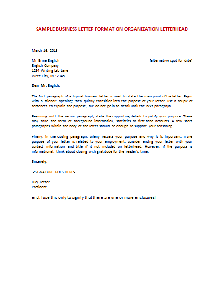 Sample Business Letter Format Example - Cover Letter Templates