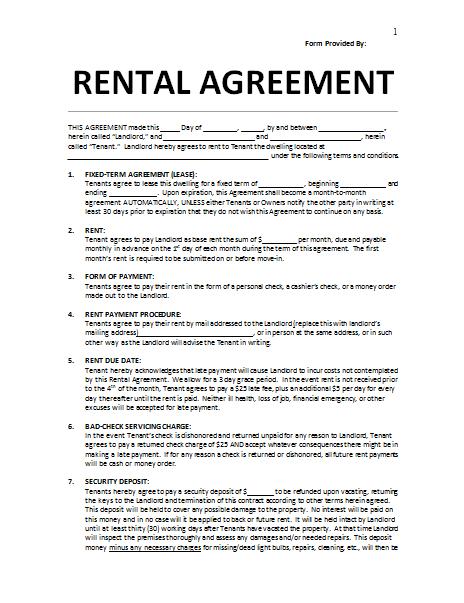 Free rental agreement template
