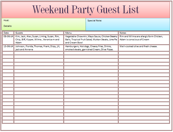 guest list template for wedding or weekend party sample wedding – Event Guest List Template