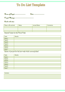Multi-Task To Do List Template