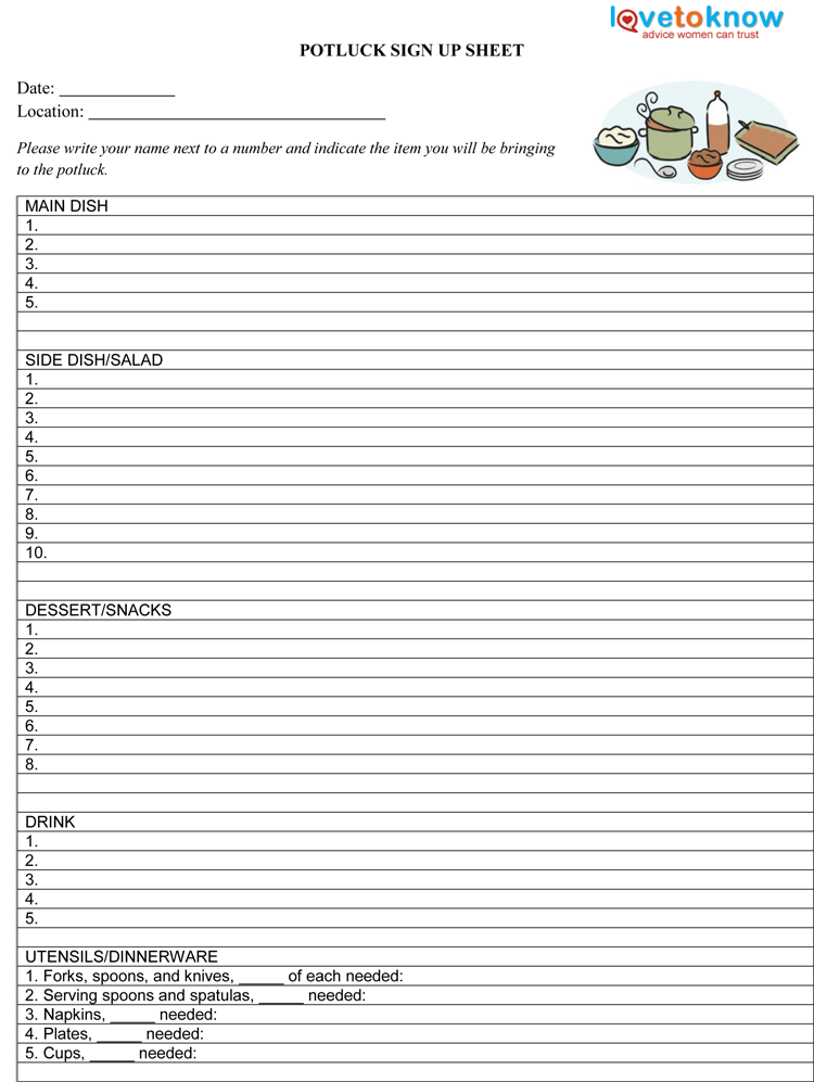 thanksgiving potluck signup sheet template - pot luck sign up sheet template pictures to pin on
