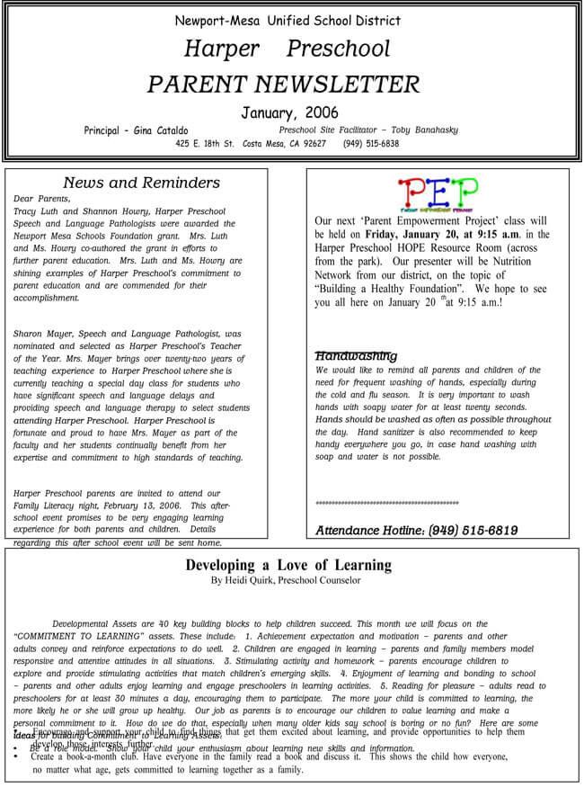 16 Preschool Newsletter Templates Easily Editable And