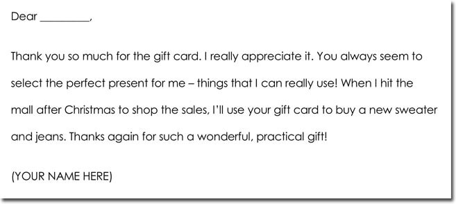 Sample Thank You Letter For Christmas Gift Card | Letterjdi.co