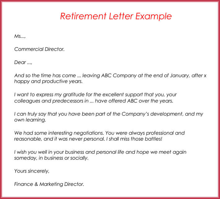 Retirement Letter Examples.Retirement Letter Examples Anexa Cloud
