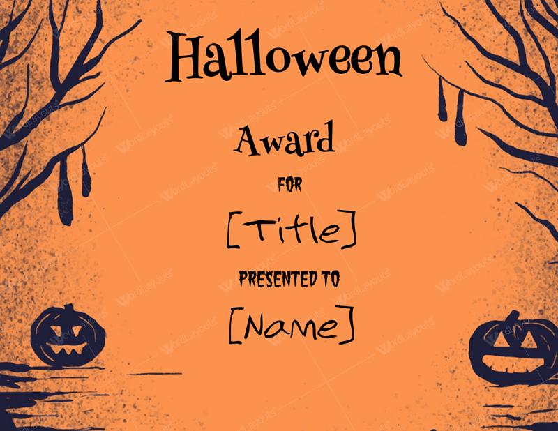 Halloween Award Certificates 5 Templates For Microsoft Word