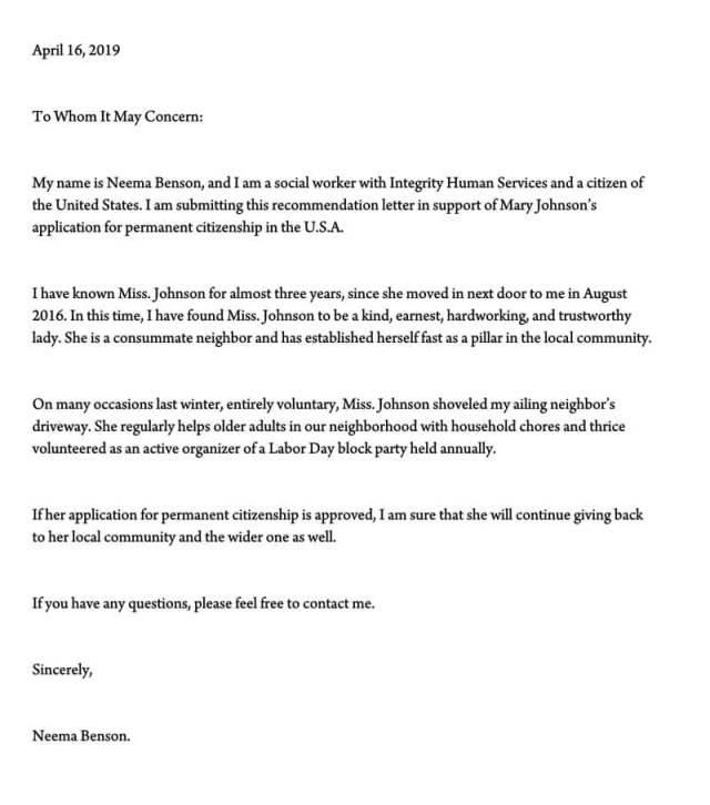 Letter To Immigration Sample Salod