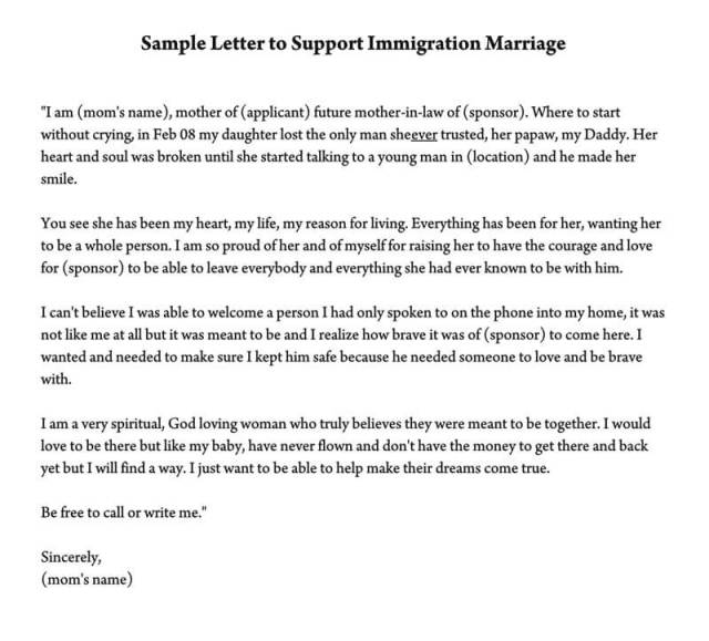 Reference Letter To Support Immigration