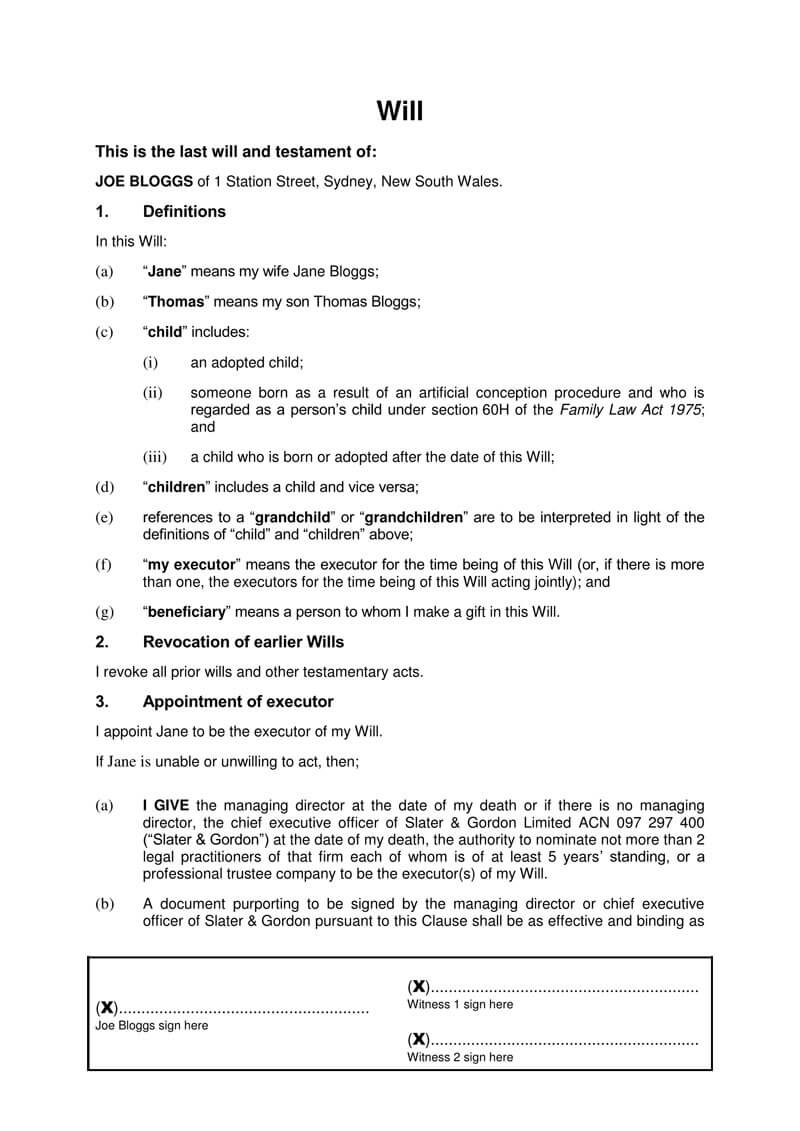 Free Last Will And Testament Forms And Templates Word Pdf
