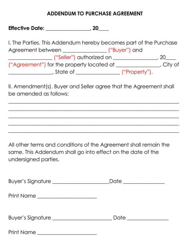 Addendum to Purchase Agreement (Free Templates)
