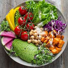 plate with purium and other healthy foods