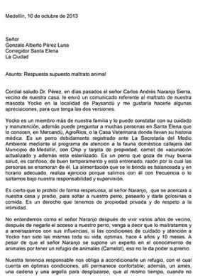 Carta Juan José Hincapié a inspector Santa Elena