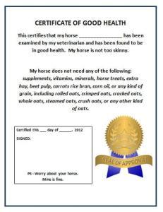 Certificate of Good Heath