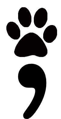 Black paw print semicolon.