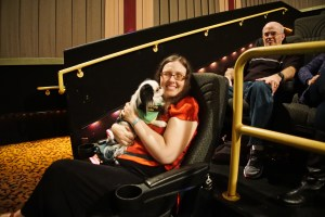 Veronica and Hestia cuddling at the movie theater
