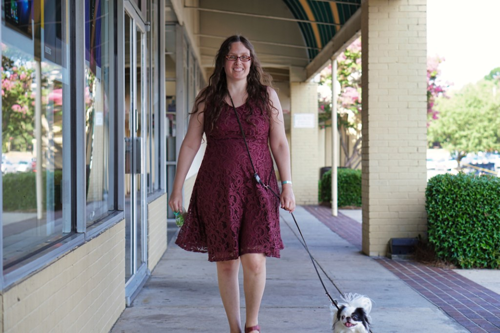 Veronica and Hestia walking down the sidewalk.