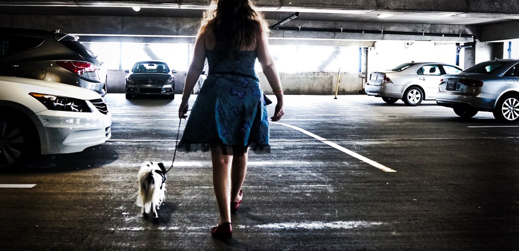 A silhouette of Veronica and Hestia walking in the parking garage. Veronica is wearing a blue butterfly dress with red shoes, and Hestia has a purple vest on.