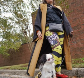 The best picture of the lot! This on has Hestia in the foreground, facing to the side with her Hufflepuff vest on. Veronica is showing off her Hufflepuff leggings and cloak. The picture is taken from a very low angle.