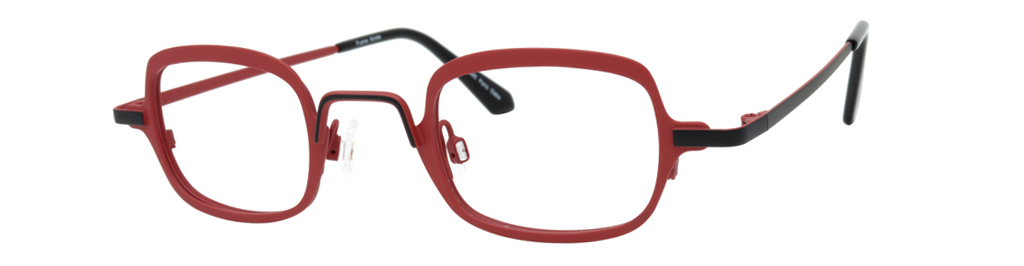 More squarely shaped red square glasses, kinda funky vibe.