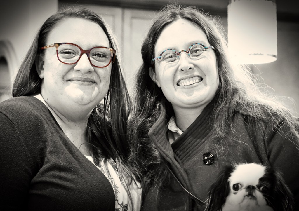 Black and white version of the last photo.  The frames of both Gina's and my glasses are in color, though.