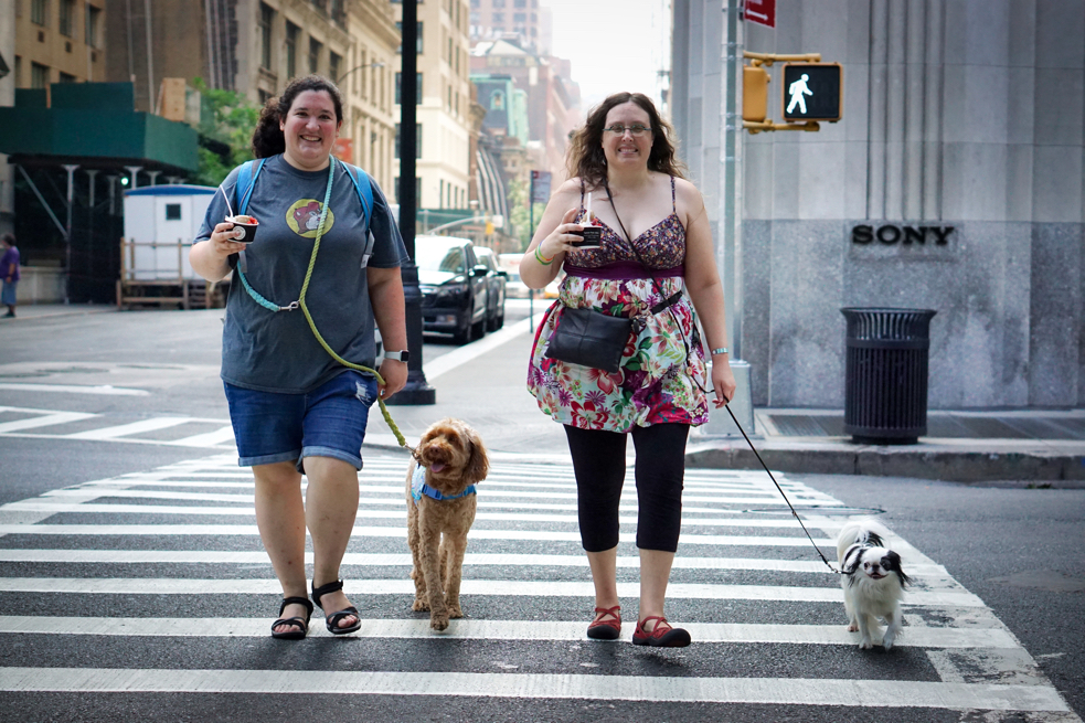 After the juicery, Hannah with Sasha and Veronica with Hestia cross the street holding their frozen juices in their hands.  The dogs are in perfect heel and the brightly smiling women look stridently at home in this striped and skyscraping urban environment.
