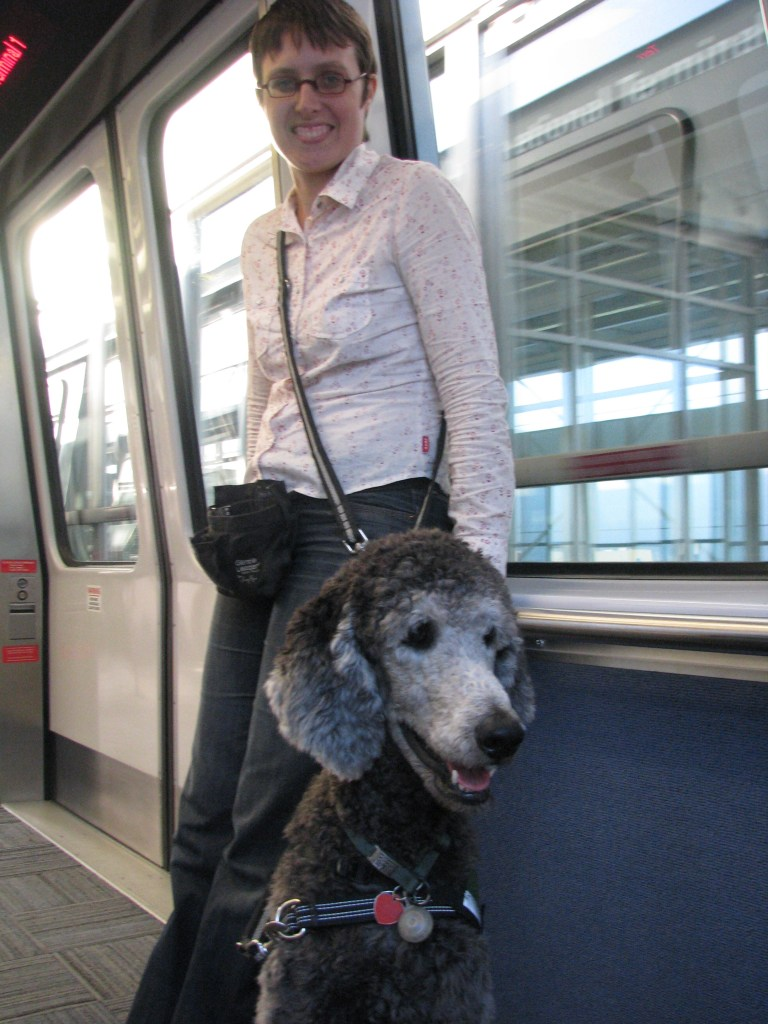 Young Ollie with me on the AirTrain in the San Francisco airport