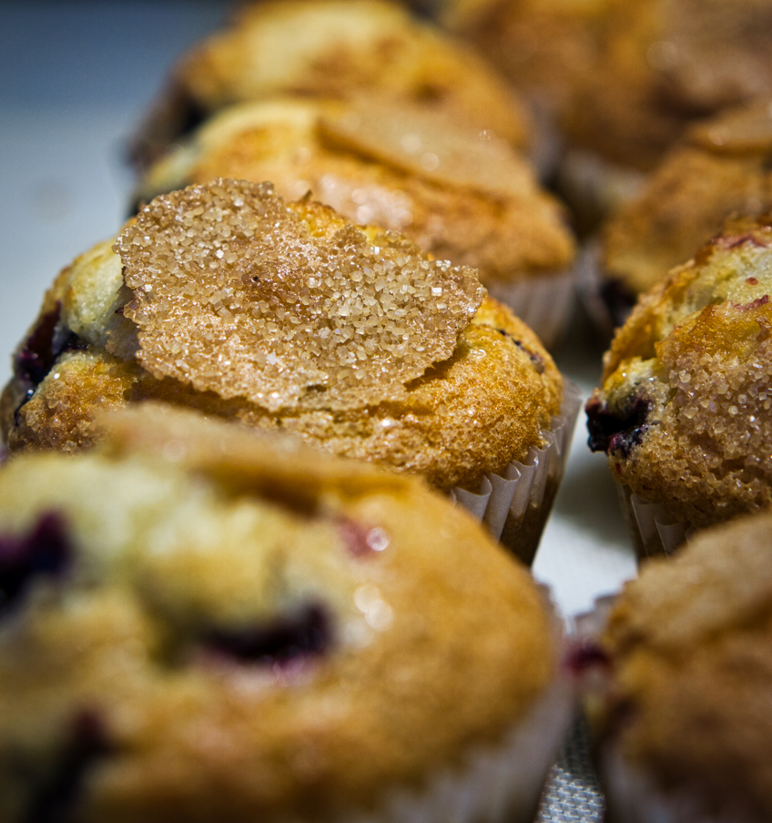 A shot of blueberry muffins in Panera.