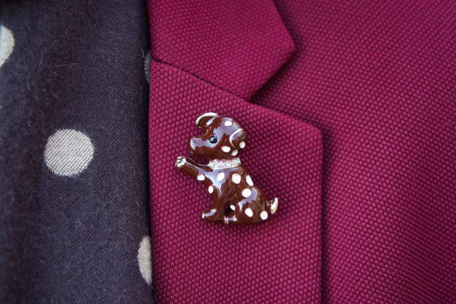 A close up of Brad's pin.  It is a brown dog with white polka dots and a rhinestone collar. Its paw is stretched out toward a large with polka dot on Brad's scarf.